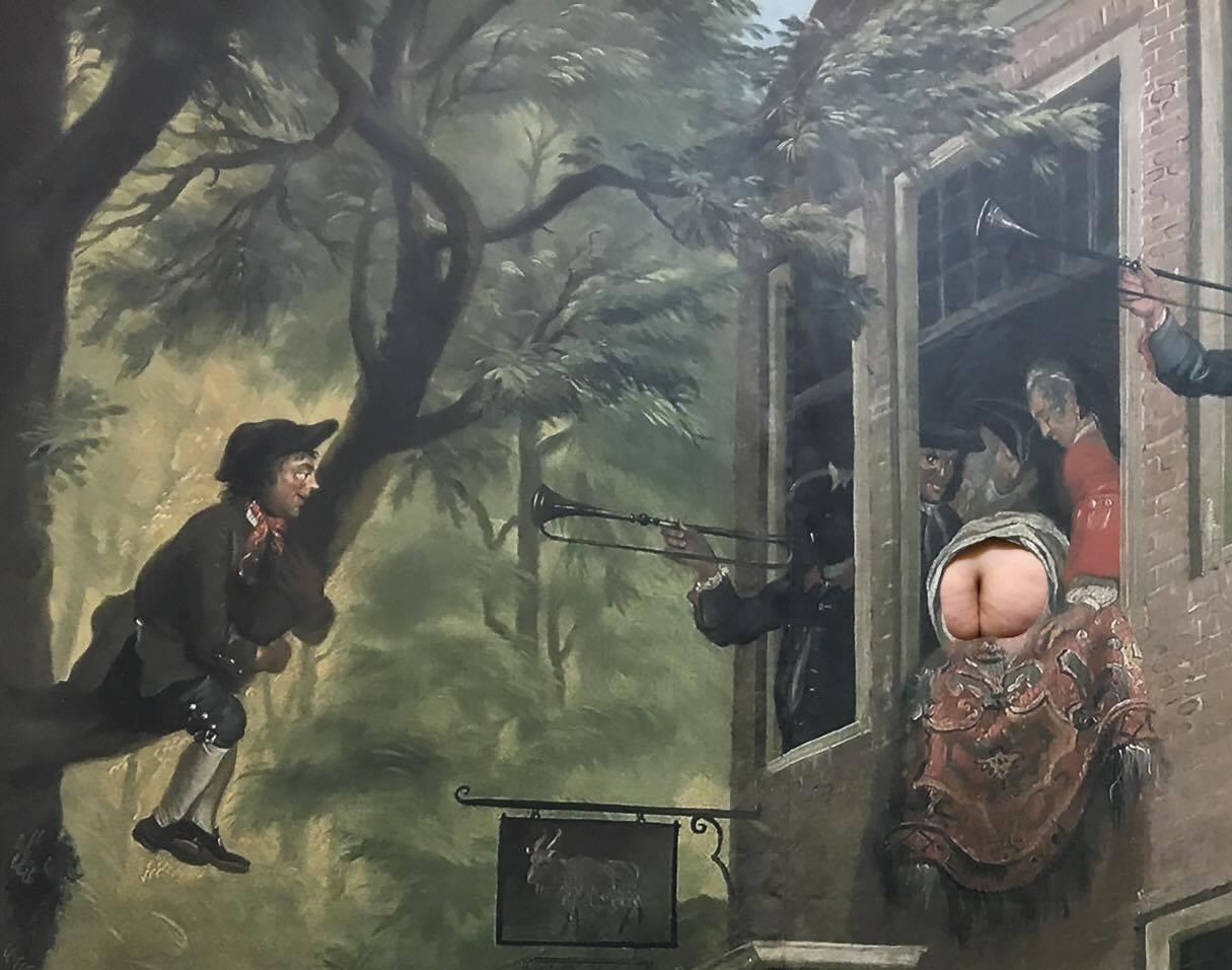 Ikke noget tøj på En bar røv anmelder kunst/ The emperors no clothes- - a bare ass-reviewer